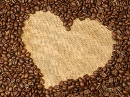Coffee beans heart photo