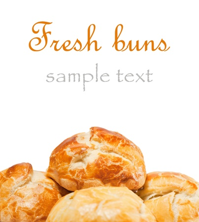 Fresh buns on white background. With sample text  photo