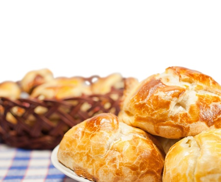 Delicious freshly baked pastry filled with cheese  photo
