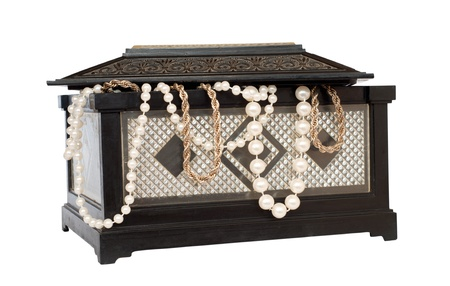 old chest with pearl necklace , isolated on white Stock Photo - 11011305