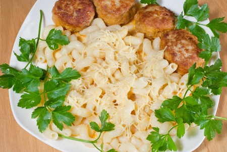 Pasta with cheese and Meatballs  photo
