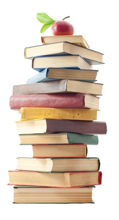 large group of objects: Stacked of old books . Isolated on white. Stock Photo