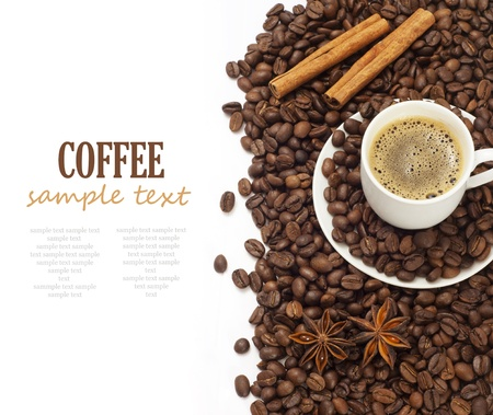coffee isolated on white background with sample text photo