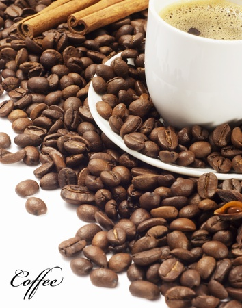 Cup with coffee, costing on coffee grain Stock Photo - 12473699