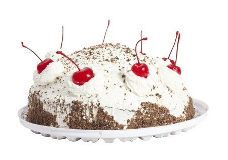 Cherry cake  Isolated on white background photo