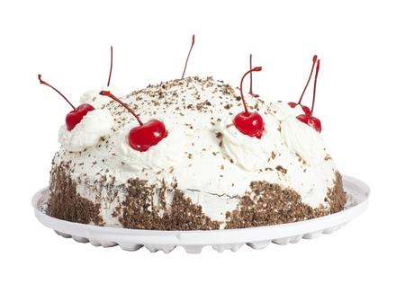 Cherry cake  Isolated on white background