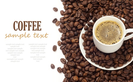 Coffee isolated on white background with sample text