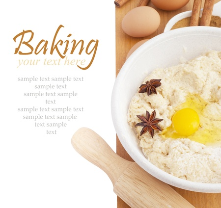 Ingredients for Baking isokated on white background  With sample text Banco de Imagens - 14248898