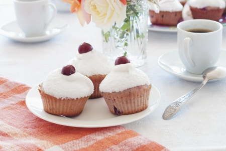 Breakfast  cherry muffins with coffee Stock Photo - 14248982