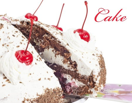 cherry cake . Isolated on white backgound with sample text. Stock Photo