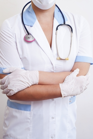 Close up of a doctors lab white coat  photo