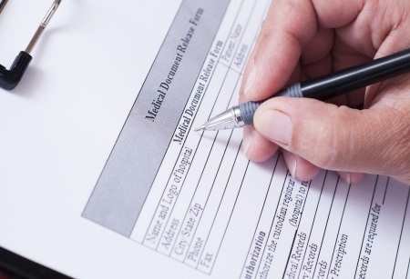 signing authority: Blank with medical form Stock Photo