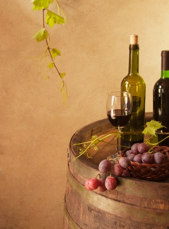 winetasting: Still life with wine barrel, grapes and vine