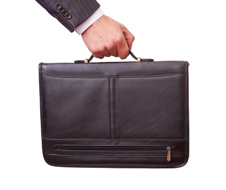 Casual Man holding in hand a briefcase photo
