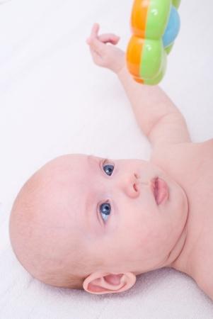 purpule: Newborn baby girl Stock Photo