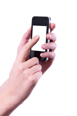 isolated woman hand holding the phone tablet photo