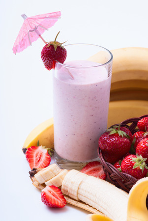 Strawberry Banana Smoothie made with fresh Ingredients photo
