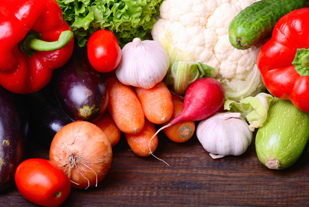 fresh vegetables on wooden  photo