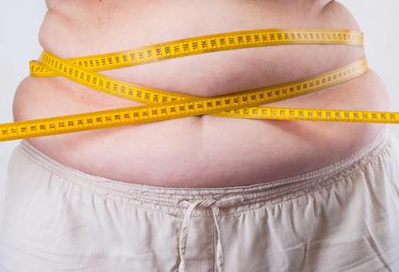 Fat Woman measuring her waist Stock Photo