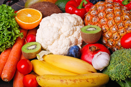 Many fresh colorful fruits & vegetables Stock Photo