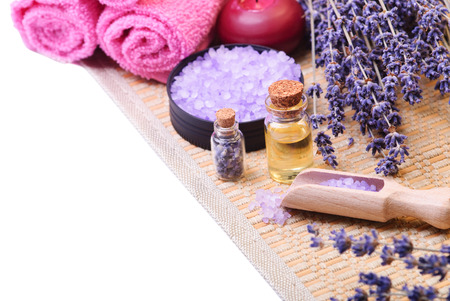 Sea salt and lavender. Spa concept Stock Photo