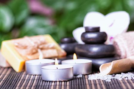 basalt: Basalt Stones Candles & Soap . Spa concept
