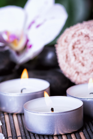 hot rock therapy: Basalt Stones & Candles . Spa concept