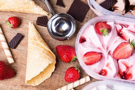 Strawberry, vanilla & chocolate Ice cream background photo