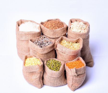 bags with cereal grains  (seeds, rice, buckwheat, oatmeal, lentils) Banco de Imagens - 40336810