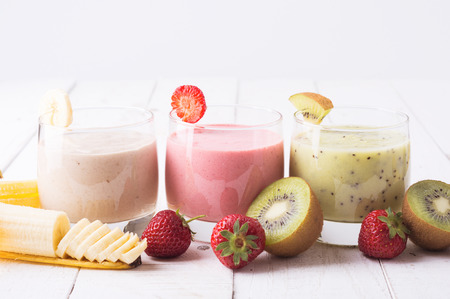 Fruit smoothies with  strawberry, kiwi & banana Stock Photo - 40465614