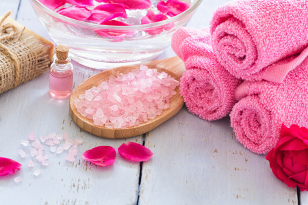 Spa concept ( sea salt, rose aroma oil and soap )