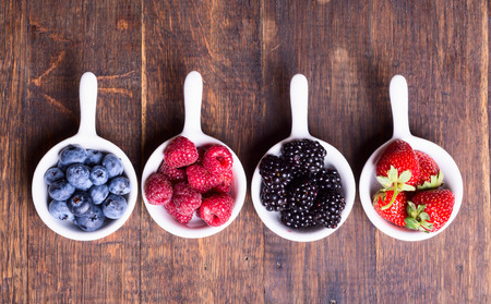 Berries (strawberry , raspberry , blueberries &  blackberries ) in bowl