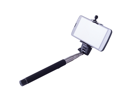 stick: selfie monopod and cellphone. Isolated on white background