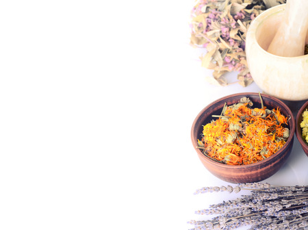 Nature medicine . Herbs isolated on white background with space for text . 写真素材