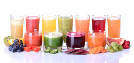 Fruit juice ( grape , strawberries , orange , kiwi , grapefruit , apple ) & vegetable juice ( tomato . cucumber , beets , carrots ) Stock Photo
