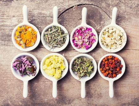 Nature medicine . Herbs on wooden background . Foto de archivo