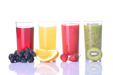 kiwi: Fruit juice (grape, strawberries, orange, kiwi)  Isolated on white background. Stock Photo