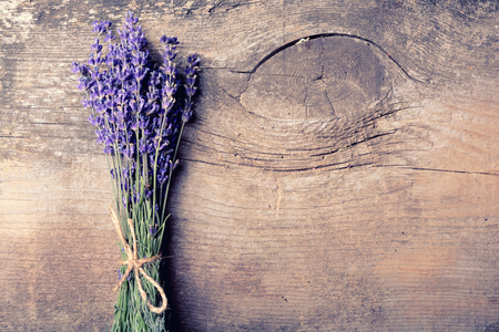 bunch of lavander on wooden background Stock Photo