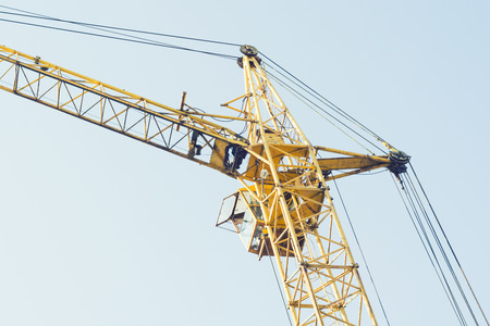 crane tower: Tower crane on sky background .