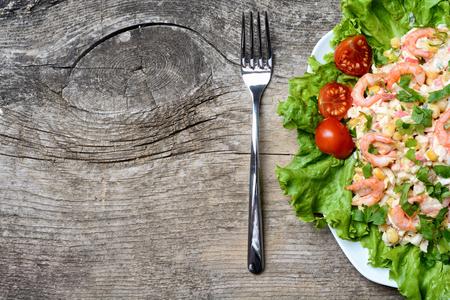pancetta cubetti: Salad with shrimps , crab sticks & corn Archivio Fotografico