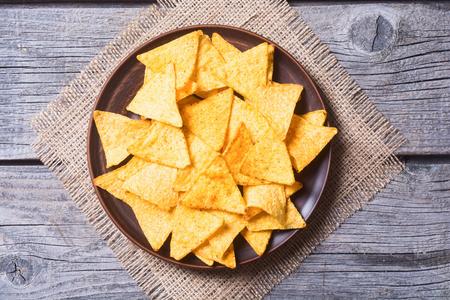 Snack voor feest, chips, nacho's Stockfoto