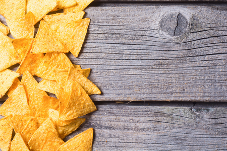 nacho chip: Snack for party , chips , nachos on wooden background . Top view