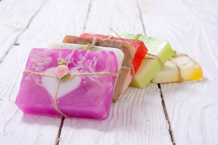 Set of colorful fruit handmade soap .