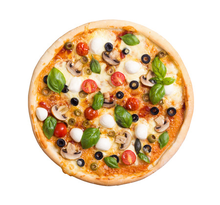 Italian pizza with mozzarella , tomato , olives and mushrooms isolated on white background . Top view . With clipping path included Standard-Bild