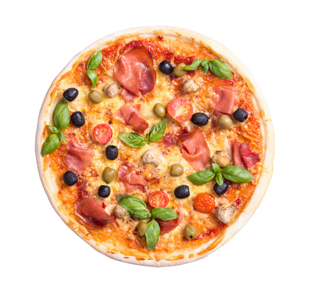 Italian pizza with jamon , tomato , olives and mushrooms isolated on white background . Top view . With clipping path included Stock Photo