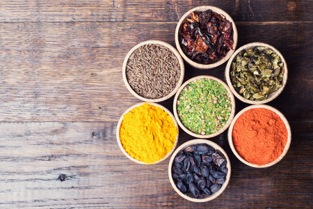 Various of Indian spices collection background . Stok Fotoğraf