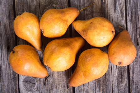 Autumn pears background . Fresh healthy food