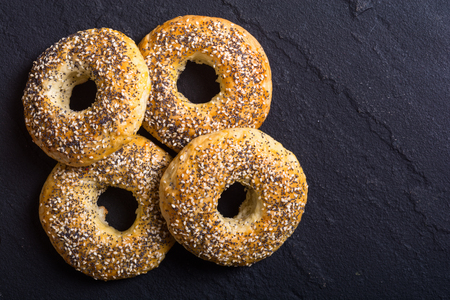 Homemade new york bagels on rustic background Stock Photo