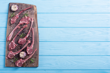 Raw ribs or rack of lamb and ingridient . Food background Archivio Fotografico
