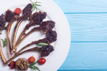 Grilled ribs or rack of lamb and ingridient . Food background Archivio Fotografico